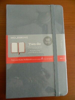 "Moleskine Two-Go Notebook Medium Ruled-Plain 4.5"" x 7"" Fabric Cover"