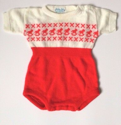 Vintage Baby Romper GOLDEN GATE One Piece Rocking Horse Short sleeve 1950s