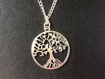 """TREE OF LIFE NECKLACE PENDANT WICCA PAGAN 20 22 24 or 26"""" Silver Plated Chain"""