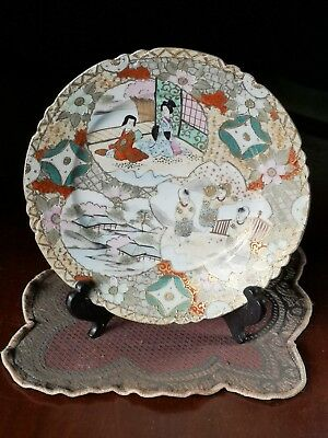 "Marked Antique Japanese Porcelain Kutani Signed 8-1/2"" Geisha Tea house FREE SHP"