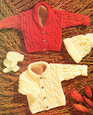 KNITTING PATTERN BABY & CHILDRENS Aran Cardigans, Hat, Mittens 16-30""