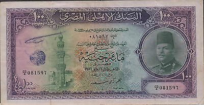 Egypt 100 Pounds  16.5.1951  P 27b  Prefix CD/4  Kg. Faruk  Circulated Banknote
