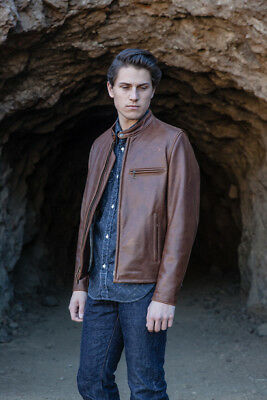 SCHOTT NYC BROWN RACER Cowhide Cafe Leather Jacket MADE IN USA ONE ONLY