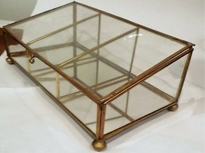 Vtg Brass Glass Mirror Display-Case Box