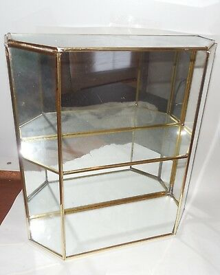 Vtg Brass Glass Mirror Curio Display-Case Cabinet w Shelves table top Curio