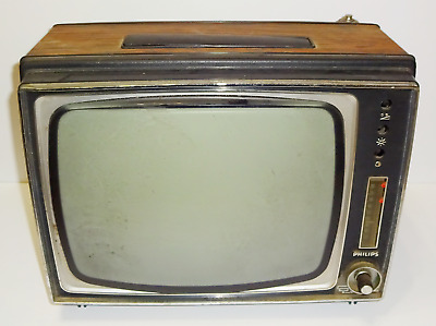 Vintage Retro German Philips Tv Television Set W/ Antenna Parts Repair