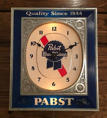 Vintage PBR Pabst Blue Ribbon Lighted Clock by Embosograph