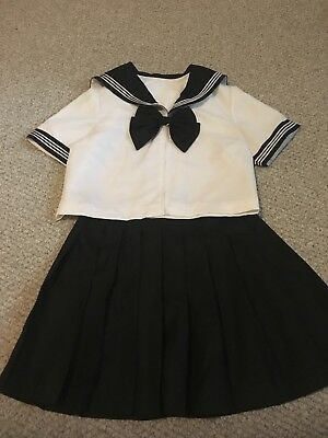 black japanese sailor uniform size 10/12 fashion schoolgirl