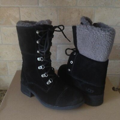 22d52cae26d UGG KILMER BLACK Water-resistant Leather Combat Short Boots Size 9.5 ...