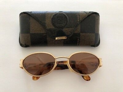 1ef38a84667d Vintage Fendi Sunglasses FS 176 Satin Golden Beauty 125 Tortoise Vtg Oval  Italy