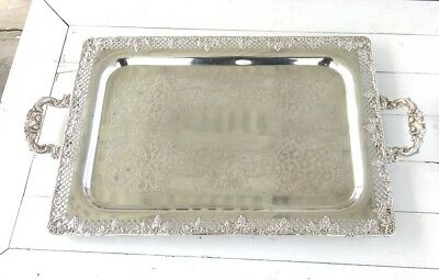 Antique Taber & Tibbits Silver Plated Rectangle Serving Tray w/Handles Signed