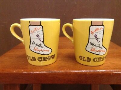2 Vintage Ceramic Old Crow Whiskey Coffee Cup