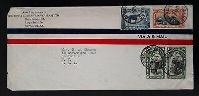 RARE 1938 Belgian Congo Texas Co. Airmail Cover ties 4 stamps canc Leopoldville