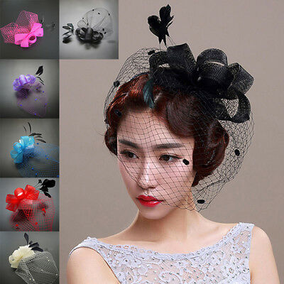 KF_Handmade Mesh Net Hat Lady Girl Wedding Church Veil Feather Hair Clip