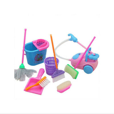 Kid Baby role-Play House Pretend Cleaning Bucket Dustpan Brush Toy 9pcs/Kit