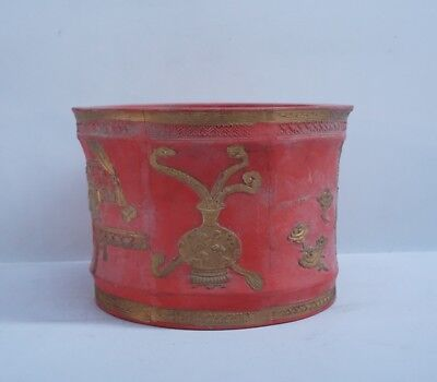 Chinese Exquisite Handmade Ancient characters carving Cinnabar Ink stone pot