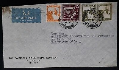 RARE 1945 Palestine Airmail Cover ties 4 stamps canc Tel Aviv to Baltimore USA