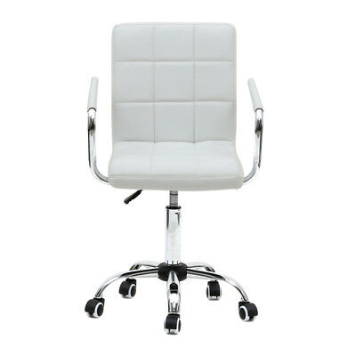 New Adjustable Office PU Leather Chair Executive Swivel Computer Desk Seat White