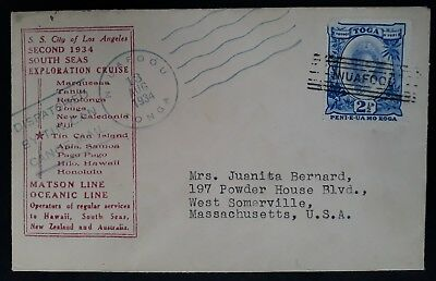 SCARCE 1934 Tonga Tin Can Canoe Mail SS Los Angeles Exploration Cruise Cover