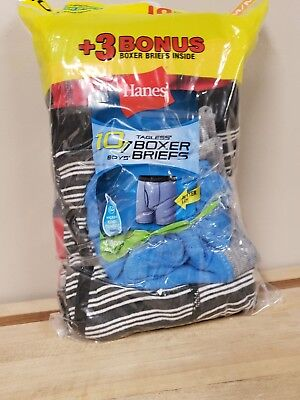 Boys HANES Tagless Striped and Solid Boxer Briefs 10 Pack  Size Medium  10/12