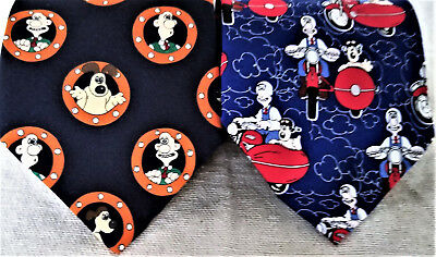Classic AWESOME WALLACE and GROMIT Motorbike Sidecar and Profile Tie lot of 2