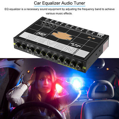 3.5mm AUX 7V RCA 12db 1/2DIN FEVER CLASS EQ CAR AUDIO 7 BAND GRAPHIC EQUALIZER