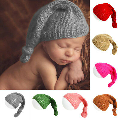 Newborn Baby Cute Hand-knitted Crochet Mohair Hat Cap Photography Props Rakish