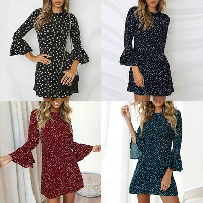 Women's Summer Wave Point Bodycon Long Flared Sleeves Mini Dress Floral SunDress