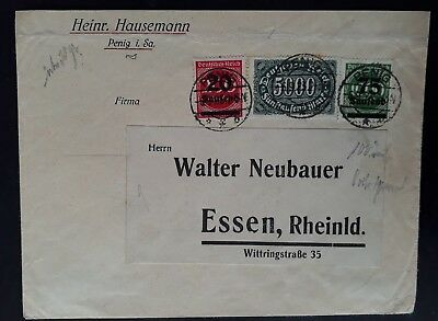 RARE 1923 Germany Hyperinflation Cover ties 3 Value stamps cancelled Penig