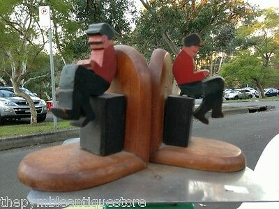 Original c1930's Vintage Australian Qld Maple Carved Seated Reader Bookends