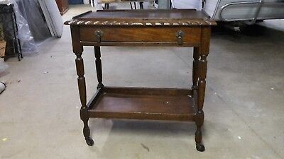 Vintage Jacobean 2 Tier Tea Drinks Trolley With Drawer