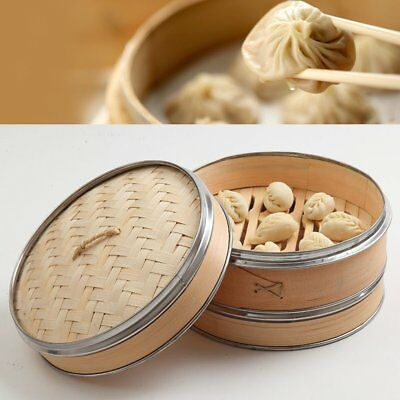 "10"" 2 Tier 1 Lid Naturally Woven Bamboo Steamer with Stainless Steel Banding"