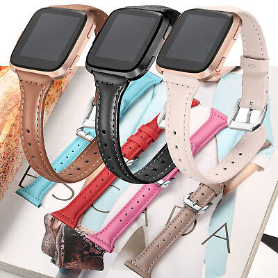 Fasion Slim Genuine Leather Watch Wrist Band Bracelet for Fitbit Versa Women OZ