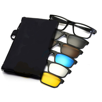 1 Sporty Rx-able Glasses Frames + 5 Pcs Magnetic Clip-on Sunglasses UV Polarized
