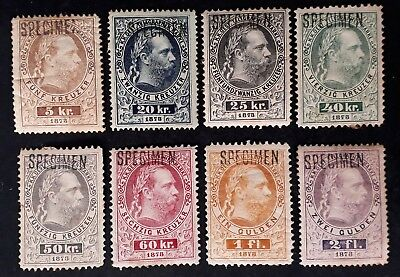 SCARCE c. 1874 Austria set of 8 Franz Josef Telegraph stamps Specimen O/P Mint