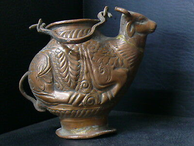 (eN394) Nepal : Old Hand Crafted Copper Unique NANDI Design pitcher of water