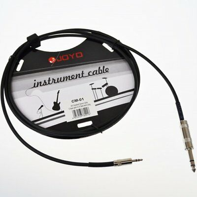 JOYO CM-01 3.5 mm Male to 6.3 mm Male Plug Shielded Stereo Cable, 6' Length
