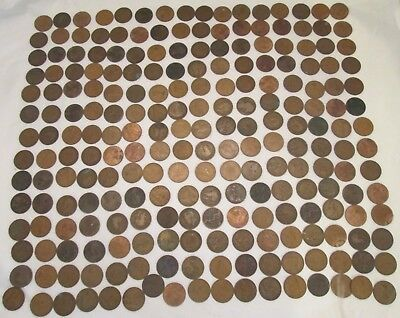 Large Job Lot of Approx 225 Old Pennies - Victoria to Elizabeth