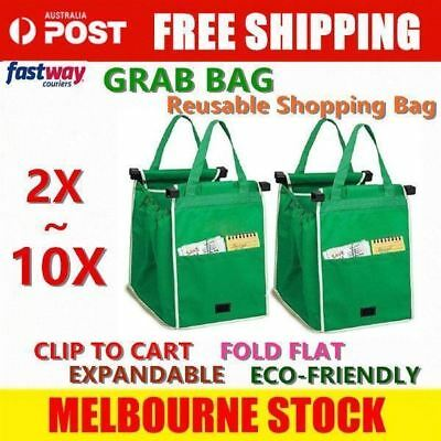 2x~10x SMART BAG Supermaket Shopping Cart Foldable Reusable Trolley Grab Bags