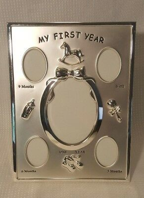 """""""My First Year"""" Silver Picture Photo Frame 0-12 Months"""
