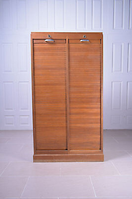 Double Door Wooden Tambour Filing Cabinet Cupboard Office Storage Lockable