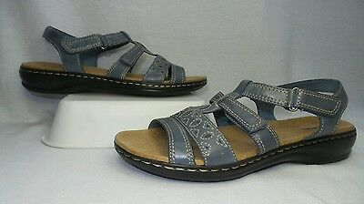 643d73fd5f7 NEW Clarks Leather Multi-Strap Sandals LEISA APPLE Q SLATE BLUE GREY 9.5 M