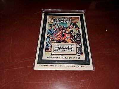 1975 Topps Original Wacky Packages 5 Scratchy Blades Weakinson Sore white back