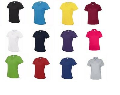 AWDis Ladies Cool Girlie Wicking Polyester Polo Shirt Short Sleeves Running Top