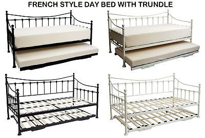 """Black Jasmine Metal French Style Daybed & Guest Stowaway Trundle with 6""""Mattress"""