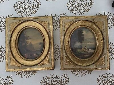 Pair Of Vintage/Antique Italian Florentine Gilt Wood Floral Wall Plaques  Italy