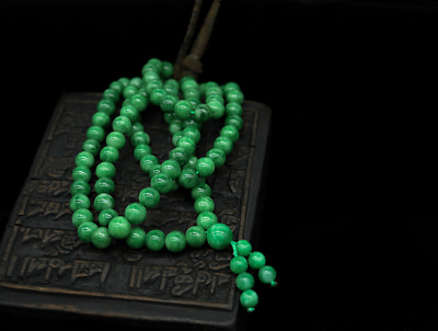 China Handcarved Natural Green Jade Jadeite 108 Bead Jewelry Necklace Pendant