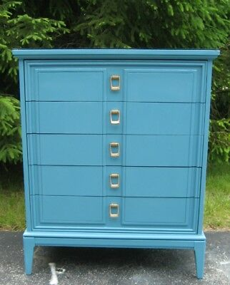 Dixie Mid Century Modern 5 Drawer Dresser In Deep Aqua With Gold Pulls And