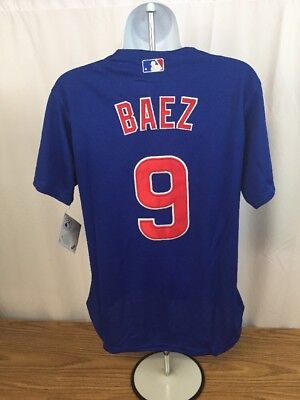 01e115bcd NEW  9 Javier Baez Blue Chicago Cubs Women s Large Jersey Shirt Cool Base