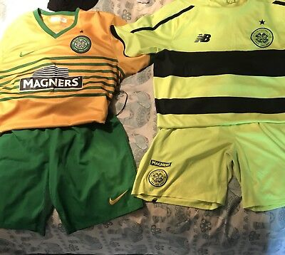 celtic football shirt large and shorts